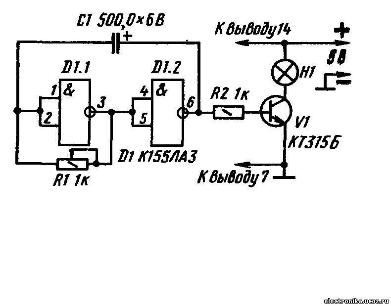 Схема пробника транзисторов на к155ла3
